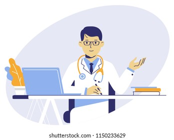 Medicine concept with doctor in thin line style. Practitioner young doctor man sits by the table in hospital medical office. Consultation and diagnosis.