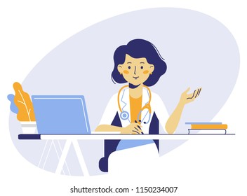 Medicine concept with doctor in thin line style. Practitioner young doctor woman sits by the table in hospital medical office. Consultation and diagnosis.