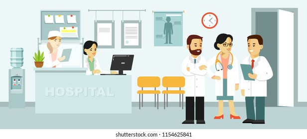 Medicine concept with doctors in flat style on hospital hall background. Young doctor man and woman, medical staff in reception hospital. Consultation and medical diagnosis for people.