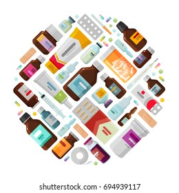 Medicine concept. Drug, medication, bottles and pills icons. Vector illustration