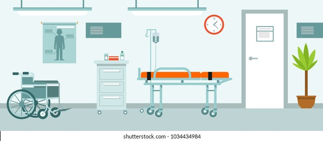 Medicine concept empty hospital corridor in flat style. Modern hospital hall interior with furniture and equipment. Vector illustration