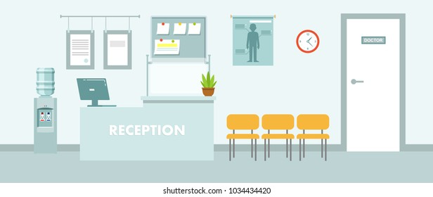 Medicine concept empty hospital hall in flat style. Modern hospital reception interior with furniture and equipment. Vector illustration.