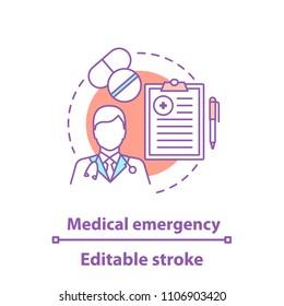 Medicine concept icon. Medical prescription idea thin line illustration. Treatment. Medications. Vector isolated outline drawing. Editable stroke