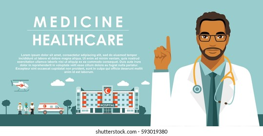 Medicine concept with muslim arabic doctor in flat style isolated on blue background. Practitioner young islam doctor man, hospital building, ambulance car and helicopter. Medical staff