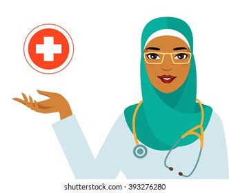 Medicine concept - muslim arabic woman doctor isolated on white background. Friendly smiling arabian woman doctor in hijab and cross sign