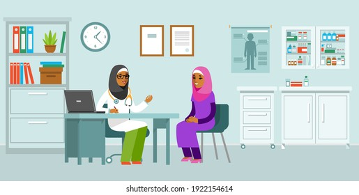 Medicine concept with muslim doctor woman and patient in flat style. Practitioner islamic doctor and young woman patient in hospital medical office. Consultation and diagnosis.