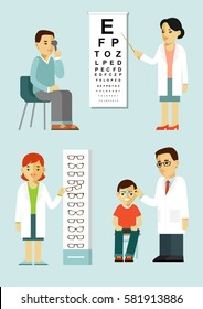 Medicine concept ophthalmology and diagnostics in flat style isolated on white background. Young ophthalmologist doctors man check eyesight of patient in hospital. Consultation and medical diagnosis