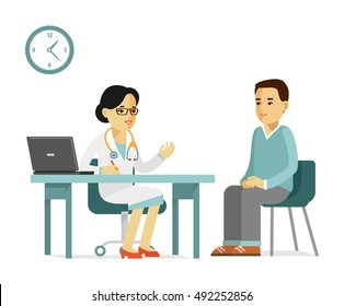 Medicine concept with practitioner doctor woman and young man patient in hospital in flat style isolated on white background. Consultation and medical diagnosis.