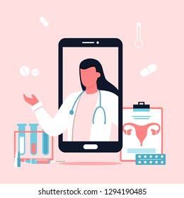 Medicine concept with practitioner gynecologist woman on phone screen. Uterus image, pills, pharmacy. Online healthcare app. Consultation and diagnosis. For banners and web sites