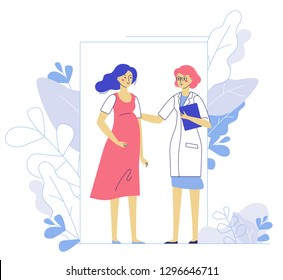 Medicine concept of pregnancy with doctor and young girl patient in hospital. Practitioner and pregnant woman standing together. Consultation, medical examination and diagnosis.