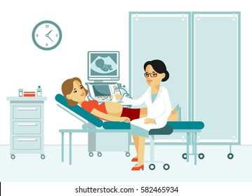 Medicine concept ultrasound scan and diagnostics in flat style isolated on white background. Young doctor woman scanning pregnant with scanner machine in hospital office. Consultation and diagnosis