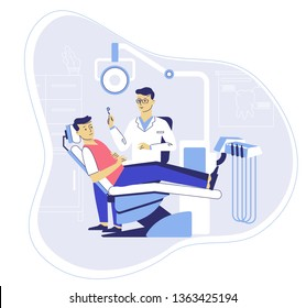 Medicine dental concept. Dentist in dentistry office. Doctor and young man patient in dental chair in hospital. Checkup and teeth medical examination.