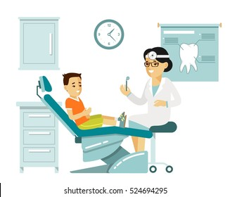 Medicine dental concept  in flat style isolated on white background. Young doctor woman and child patient in dentist chair. Consultation and medical diagnosis