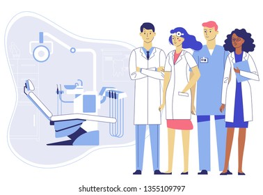 Medicine dental concept. Team of dentists in dentistry office. Group of young doctors man and woman standing together on dental chair background. Checkup and teeth medical examination.
