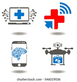 Medicine digital integration computing modernization automation smart web health care iot concept. Medical healthcare future ambulance emergency innovation vector icon set