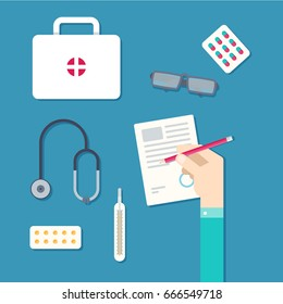 Medicine doctor fills up prescription form. Medicines, pills, tablets, ampulla, thermometer, stethoscope. Vitamins and remedies. Vector illustration
