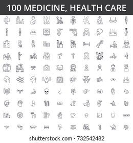 Medicine, doctor, health care, hospital, modern clinic, healthcare, cardiology, illness, ophthalmology, gynecology, medical therapyline icons, signs. Illustration vector concept. Editable strokes