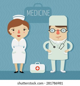 medicine, doctor and nurse in uniform, character design. vector illustration