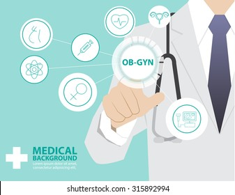 Medicine doctor  working with modern virtual technology, hand touching interface as medical concept,OBSTRETIC GYNECOLOGY,OB-GYN
