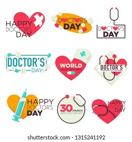Medicine doctors day isolated icons pills and syringe vector stethoscope bandage and capsule medical worker holiday heart emblems or logos medication and nurse hat with cross healthcare and treatment