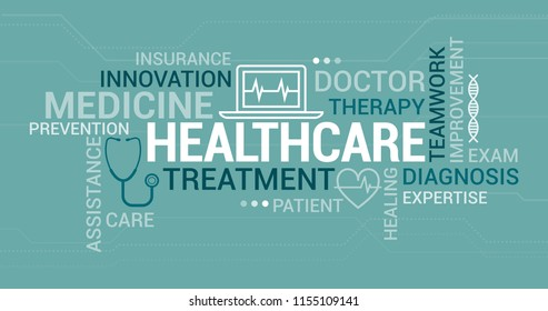 Medicine, doctors and healthcare tag cloud with icons and concepts