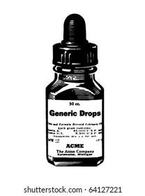 Medicine Drops - Retro Clipart Illustration