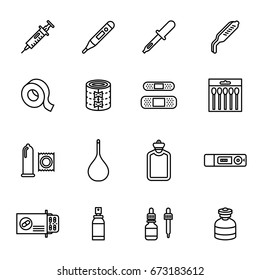 Medicine and drugs icon set. Line Style stock vector.