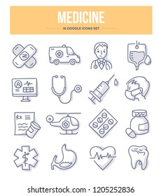 Medicine, emergency care & pharmacy doodle vector icons for website and printing materials