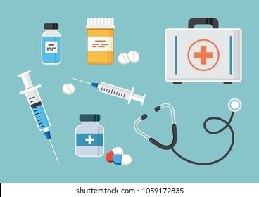 Medicine.  First aid kit, stethoscope, and syringe for injection with blue vaccine, vial of medicine, empty syringe, and medicine bottles and pills. Vector illustration