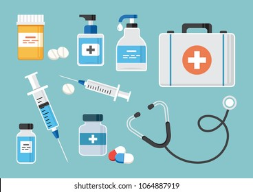 Medicine.  First aid kit, stethoscope, and syringe for injection with blue vaccine, vial of medicine, empty syringe, and medicine bottles and pills, and hand sanitizer bottles. Vector illustration
