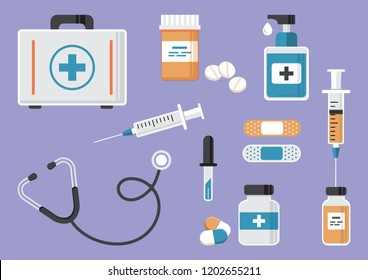 Medicine. First aid kit, stethoscope and syringe, vial of medicine, and pills, hand sanitizer bottles, medical plaster, pipette. Vector illustration