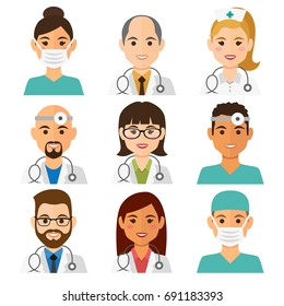 Medicine flat avatars set with doctors and nurses. Medical collection, vector illustration.
