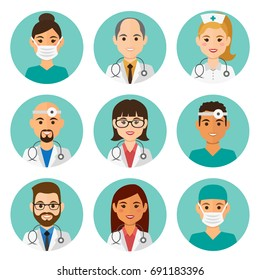 Medicine flat avatars set with doctors and nurses. Round icons medical collection, vector illustration.