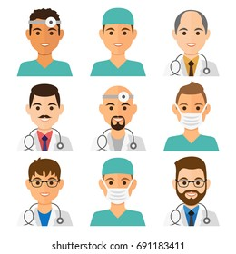 Medicine flat avatars set with doctors and nurses. Men collection, vector illustration.