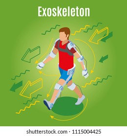 Medicine of the future exoskeleton isometric background with male human character in wearable external skeleton suit vector illustration