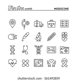 Medicine, health care, emergency, pharmacology and more, thin line icons set, vector illustration