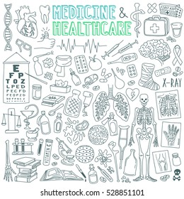 Medicine and health care outline drawings set. Drugs, pills, pharmacy, x-ray, first aid, human organs, diseases, treatment. Vector illustration isolated on white background.