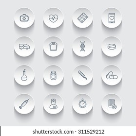 medicine, health care, pharmaceutics, hospital, line round icons pack, vector illustration, eps10, easy to edit