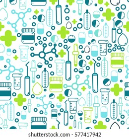 Medicine Health care seamless pattern with outline pharmacy signs including pills, vitamins. Vector illustration can be used for package, wrapping, banners, site headers.