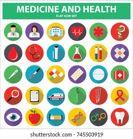 Medicine and Health flat icon set. Vector Illustration.