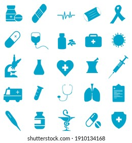 Medicine, health and healthcare icons set. Outline collection of symbols. Editable vector illustration.