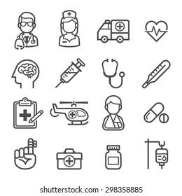 Medicine and Health icons. Vector illustrations.