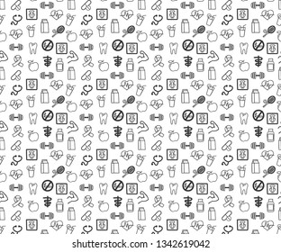 Medicine and Health vector pattern for background. World Health Day icons