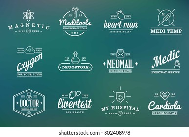 Medicine Health Vector Symbols Icons Can Be Used as Logotype Element or Icon, Illustration Ready for Print or Plotter Cut or Using as Logotype with High Quality