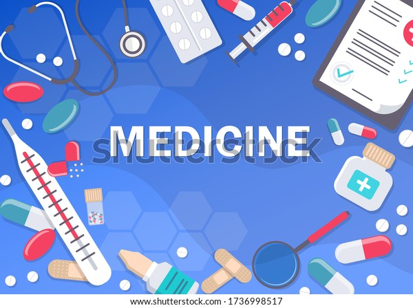 Medicine Healthcare Banner Poster Background Copy Stock Vector Royalty Free 1736998517