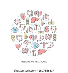 Medicine and healthcare concept poster with human body internal organs, colored vector outline icons. Brain, heart and lungs, thyroid, stomach and intestines, liver and kidneys, reproductive system