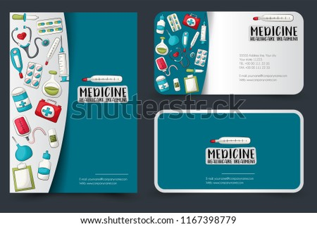 Medicine healthcare flyer business cards set stock vector royalty medicine and healthcare flyer and business cards set background for advertisement invitation brochure colourmoves