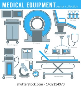 Medicine and healthcare medical equipment tools and technology isolated objects vector and gurney or examination chair flasks and cardiograph microscope and stethoscope thermometer and pipette.