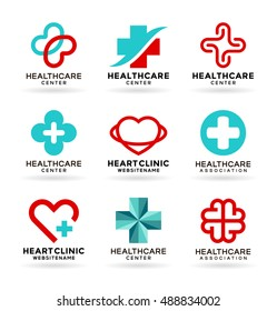Medicine and Healthcare. Medical icons set and healthcare logo design elements (9)