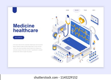 Medicine and healthcare modern flat design isometric concept. Pharmacy and people concept. Landing page template. Conceptual isometric vector illustration for web and graphic design.